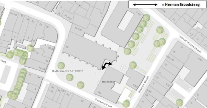 De plek van de Herman Broodsteeg volgens de plattegrond.