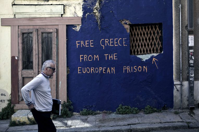 Een muurschildering in Athene. Beeld afp