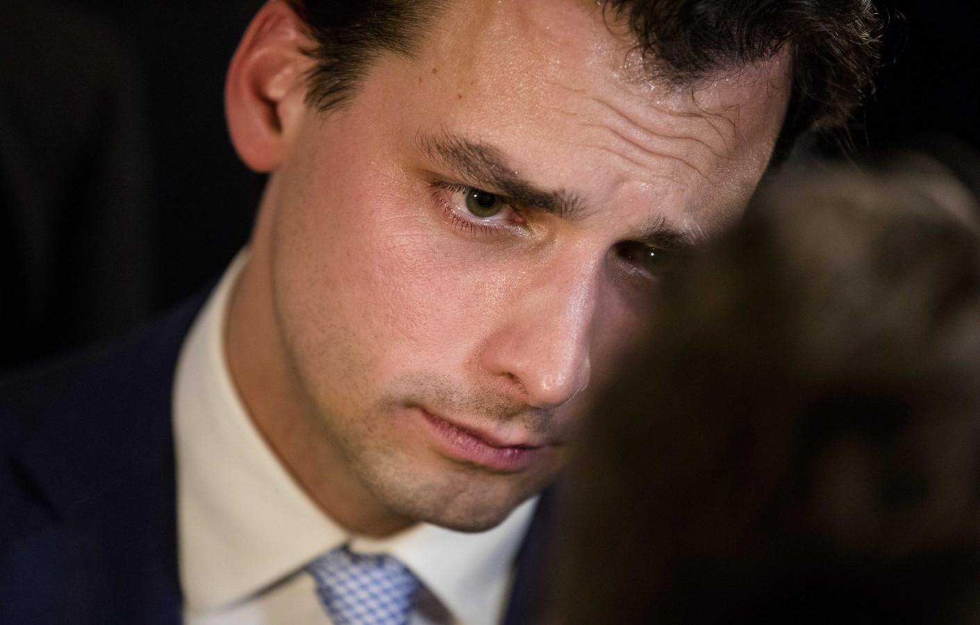 Thierry Baudet (FvD) in gesprek met de pers tijdens de uitslagenavond van de Provinciale Statenverkiezingen en de waterschapsverkiezingen.