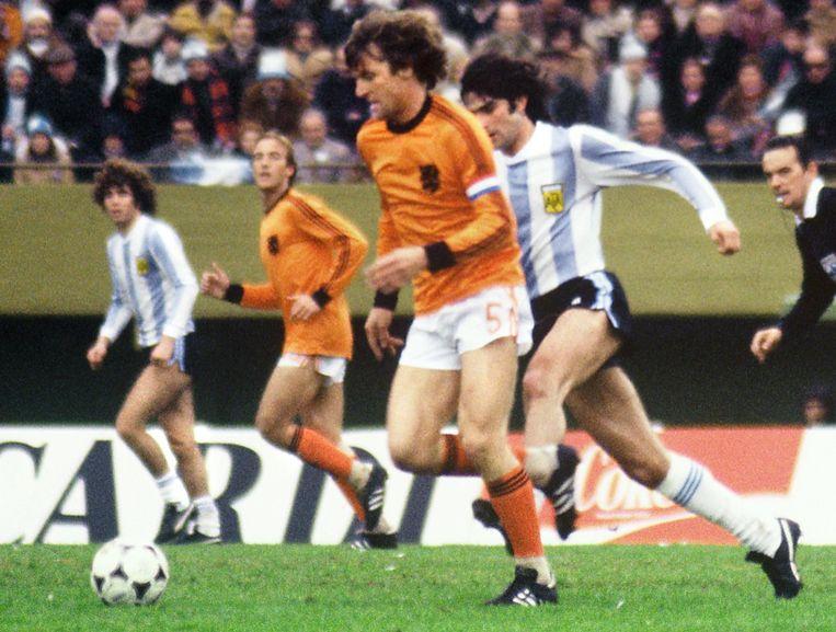 Ruud Krol in 1978 tijdens de verloren WK-finale met Oranje tegen Argentinië.