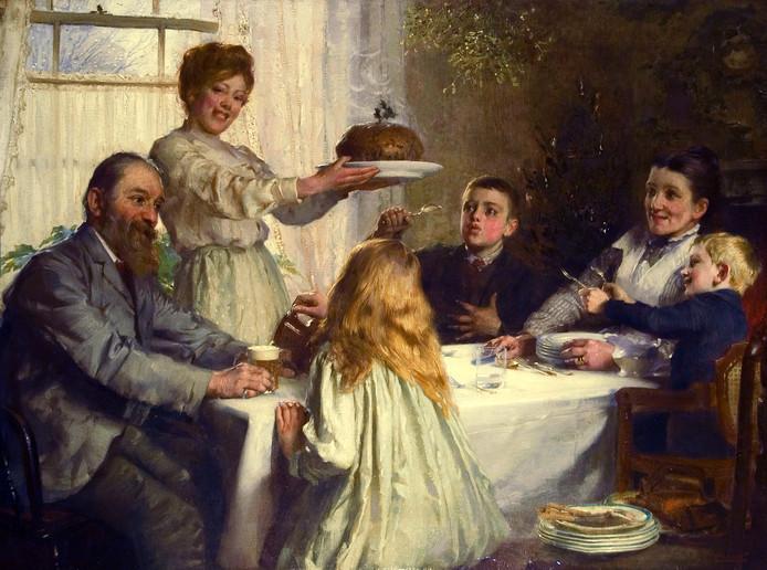 James Clark schilderde in 1902 'Christmas', met de typische Christmas Pudding.