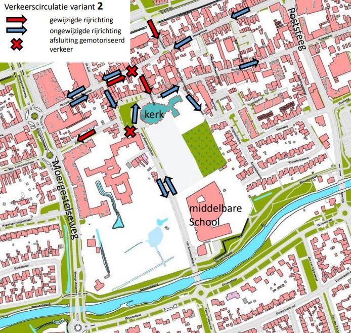 Wijziging rijrichtingen Kerkplein (variant 2)