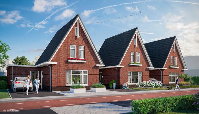 De drie woningen aan de Haarstraat moeten er zo uit komen te zien.