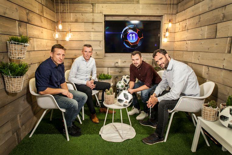 Van l naar r in de VISTA!-studio: Wesley Sonck, Johan Verbist, Nicolas De Brabander en Stephan Keygnaert.