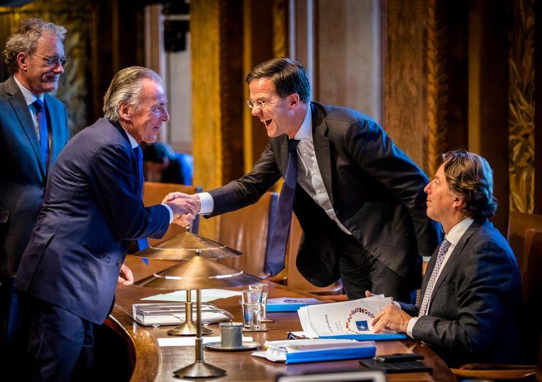 (v.l.n.r.) Thom de Graaf (D66), Elco Brinkman (CDA), Premier Mark Rutte en Minister Bert Koenders van Buitenlandse Zaken tijdens het debat over het Oekraïneverdrag Beeld anp