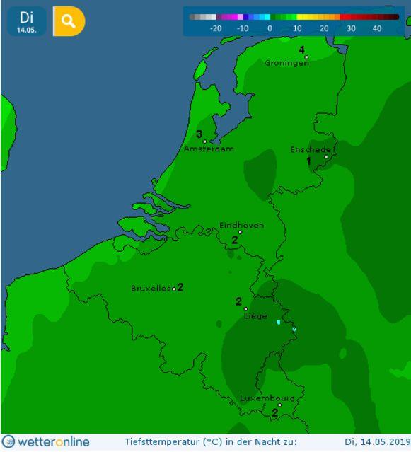 Ook dinsdagochtend moeten we rekening houden met lage minima en mogelijk grondvorst in bepaalde gebieden van de Benelux.