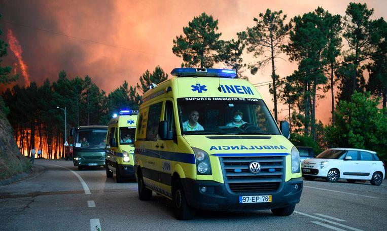 Ambulances bij evacuaties tijdens de grote bosbranden in Portugal, 17 juni. Beeld anp