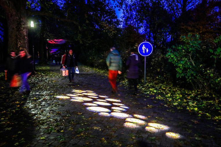 Lichtinstallaties verlichten het Koning Albert I-park.