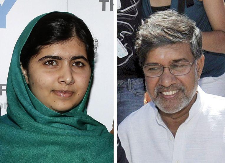Malala en Satyarthi (op een foto uit 2009). Beeld epa
