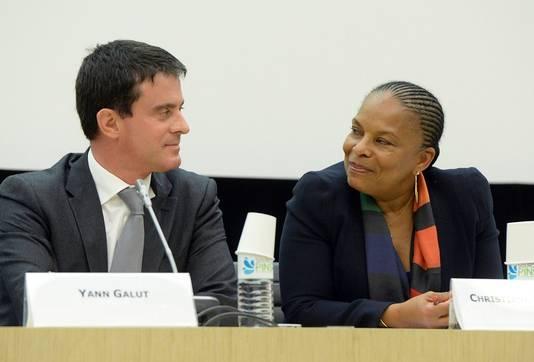 Le ministre français de l'Intérieur, Manuel Valls et la ministre de la Justice, Christiane Taubira