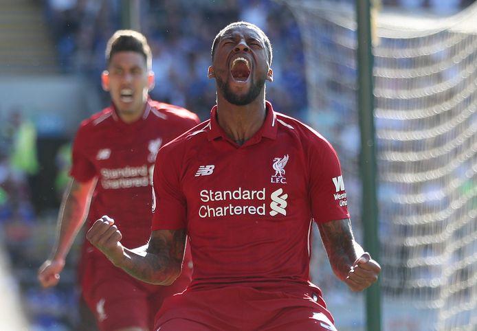 Georginio Wijnaldum viert zijn goal voor Liverpool tegen Cardiff City.