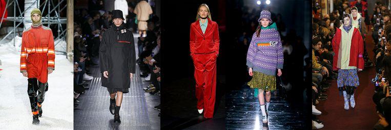 Van links naar rechts: Calvin Klein, Prada, Baum und Pferdgarten, Prada, Vetements. Beeld Team Peter Stigter
