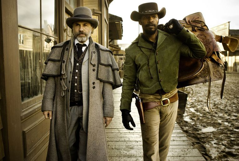 Christoph Waltz en Jamie Foxx in 'Django Unchained'.