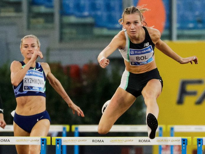 Femke Bol in actie bij de Diamond League in Stadio Olimpico in Rome.