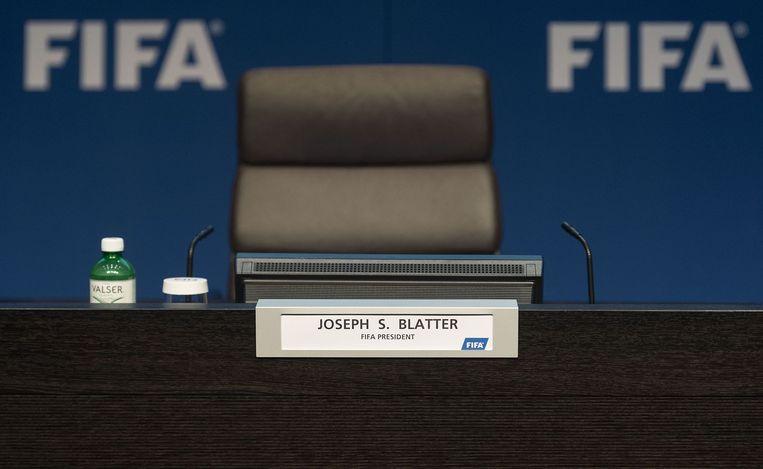 De lege stoel van Blatter. Dit was nog voor de persconferentie. Beeld afp