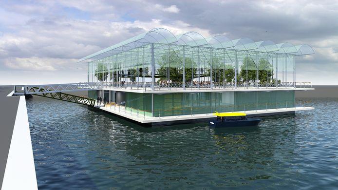 Een impressietekening van de drijvende boerderij die in Rotterdam wordt gebouwd. Den Bosch krijgt een variant hierop.