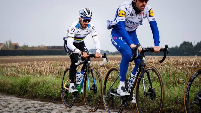 IN BEELD. Wereldkampioen Alaphilippe en Van Avermaet verkennen Ronde van Vlaanderen