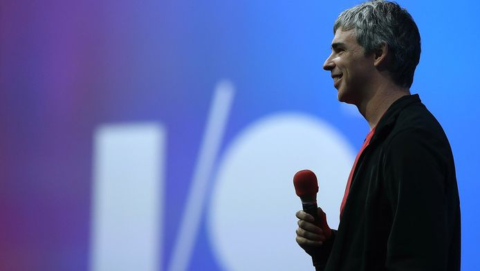 Google-ceo Larry Page op Google I/O.