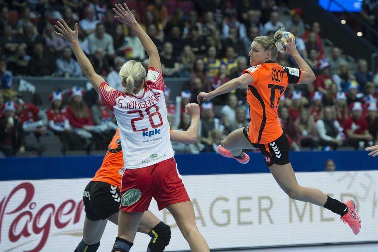 Oranjespeelster Nycke Groot tijdens de halve finale van het EK tussen Nederland en Denemarken, vorig jaar in Göteborg. Beeld ANP