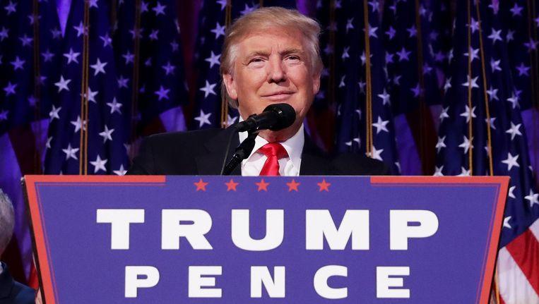 Donald Trump geeft zijn acceptatiespeech in het New York Hilton Midtown op 9 november. Beeld null