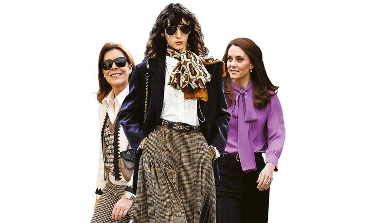 Deze vrouwen blazen tuttige kleding nieuw leven in: prinses Caroline van Monaco (links), catwalkmodel Karo Laczkowska (centraal) in haar donkerblauwe blazer, witte bloes en geruite broekrok van het Franse merk Celine, en de Britse Kate Middleton.