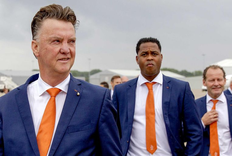 Louis van Gaal, Patrick Kluivert en Danny Blind. Beeld anp