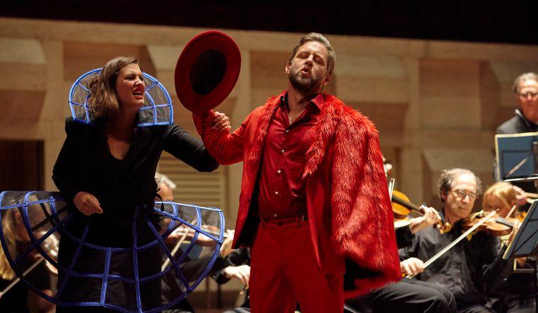 Katharine Dain (Donna Anna) en André Morsch (Don Giovanni) in Don Giovanni van Jeroen Lopes Cardozo.  Beeld Hans Hijmering