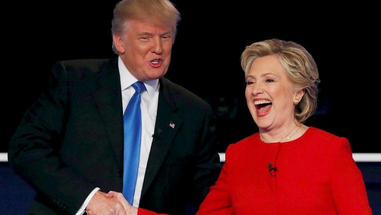 Trump en Clinton tijdens een verkiezingsdebat. Beeld reuters