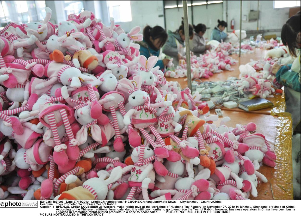 Een speelgoedfabriek in China.