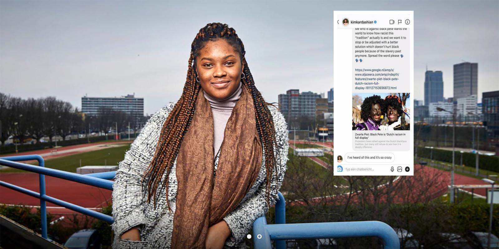 De Rotterdamse Ramone Bendt stuurde samen met een aantal andere vrouwen massaal berichten over Zwarte Piet naar (inter)nationale beroemdheden. Zij kregen reactie van Kim Kardashian.