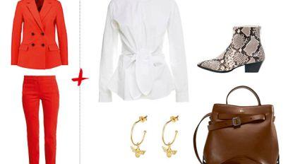 Eén vuurrood pak, vier outfits: zo haal je het meeste uit je kleding