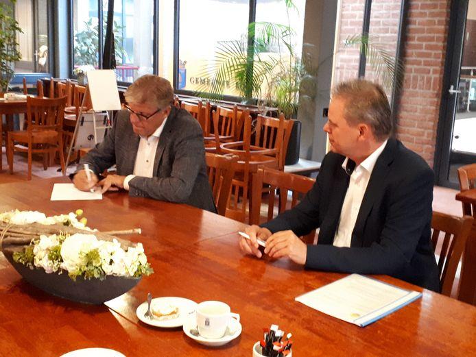 Wethouder Michel Kotteman (links) en Nico Lansink Rotgerink ondertekenen de samenwerkingsovereenkomst tussen de gemeente Borne en Borne Energie.