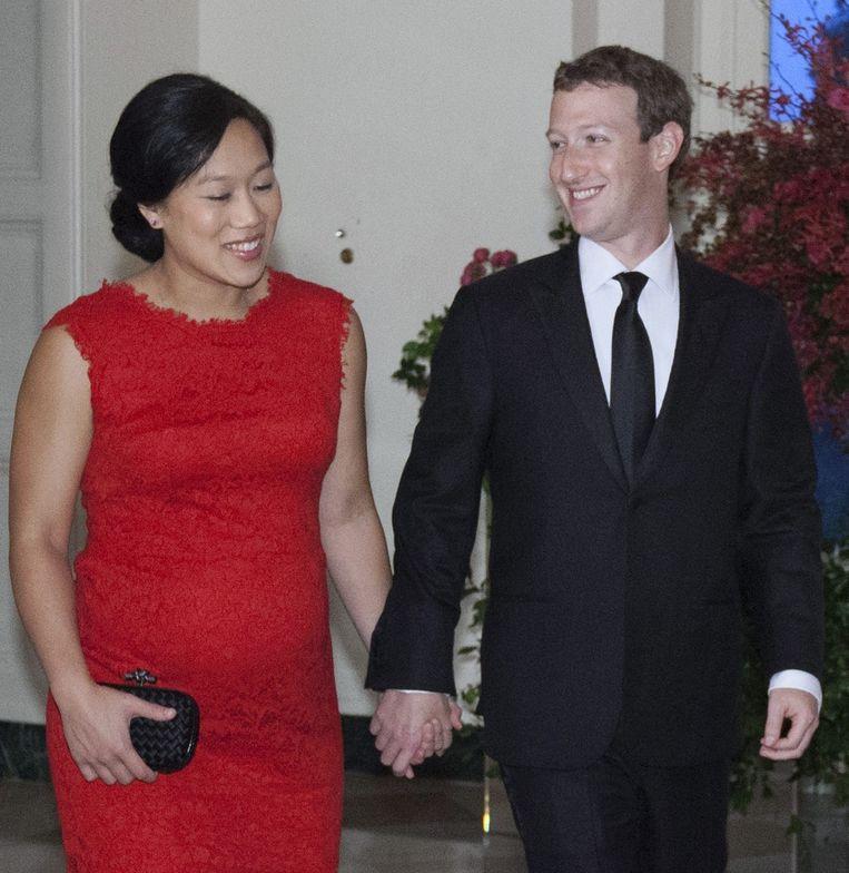 Mark Zuckerberg met zijn vrouw bij een staatsdiner voor de Chinese president Xi en Peng Liyuan op het Witte Huis