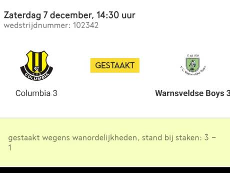 Voetbalwedstrijd in kelderklasse tussen Columbia uit Apeldoorn en Warnsveldse Boys gestaakt 'wegens racisme'