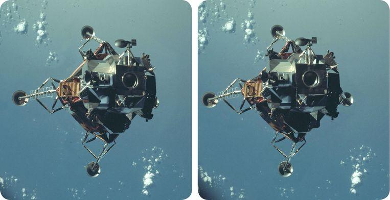 De Apollo Lunar 9 Module, in 1969. Brian May leverde de stereofoto's voor Race naar de maan 3D.  Beeld