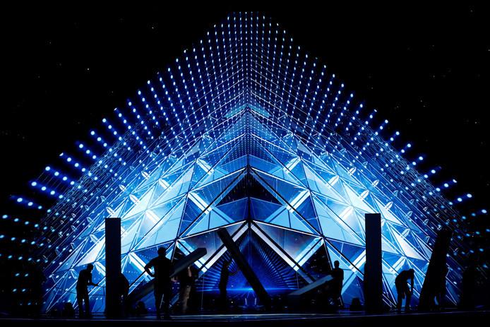 Opbouw van het decor van het Eurovisie Songfestival in Tel Aviv.