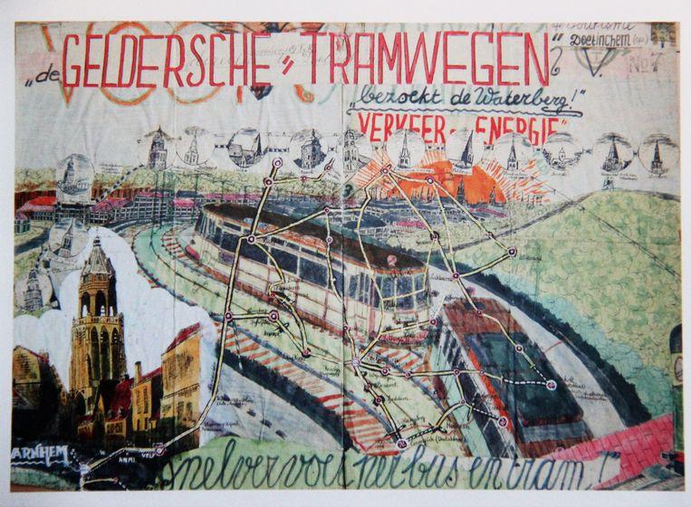 Vermoedelijk maakte Willem van Genk dit (ongedateerde) werk tijdens of kort na de oorlog. De moderne bebouwing voor het stadssilhouet van Arnhem is Malburgen, waarvan de bouw in 1937 begon.  Beeld Willem van Genk
