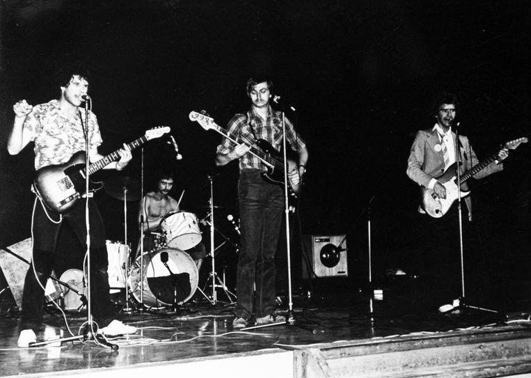 Op het podium van cultuurcentrum Ter Dilft in Bornem op 5 oktober 1979.