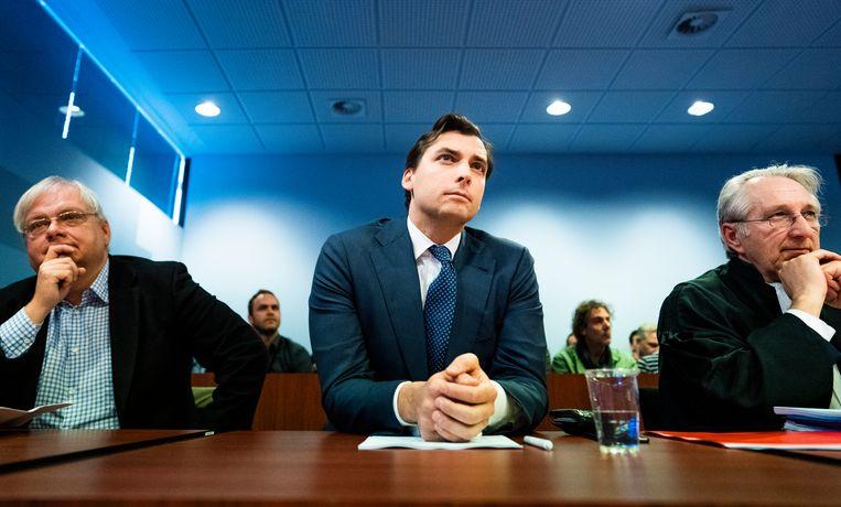 Thierry Baudet (leider van Forum voor Democratie) in de rechtszaal tijdens het kort geding tegen het tv-programma Buitenhof.  Beeld Freek van den Bergh / de Volkskrant