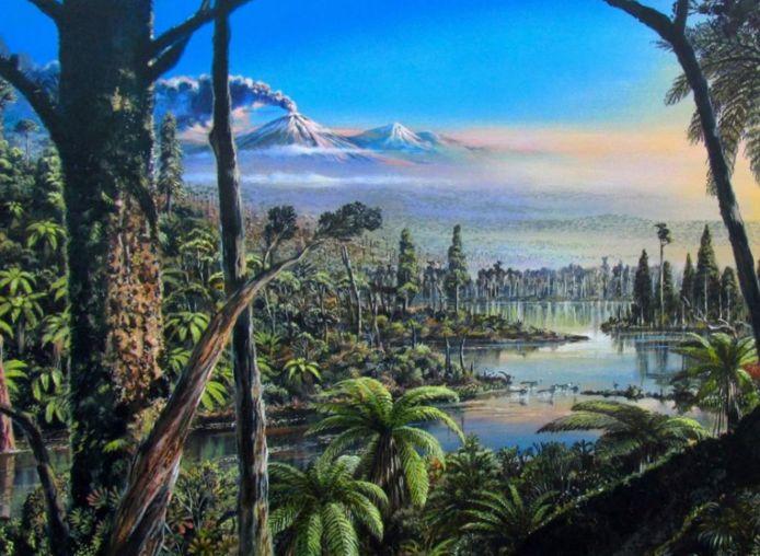 Représentation du paysage antarctique il y a 90 millions d'années.