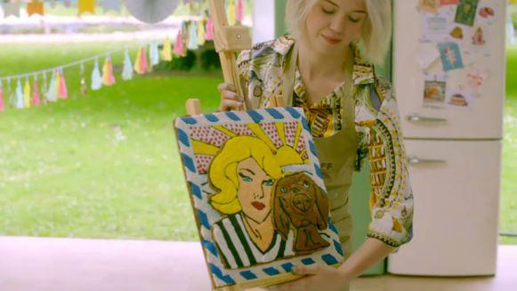 Voor haar 'selfiekoek' vond Jaline inspiratie bij Roy Lichtenstein - en haar hond Chloé.