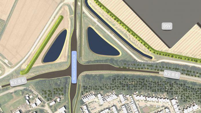 Het viaduct over de Nieuwe Postweg maakt plaats voor een kruising met afslagen naar bedrijventerrein Welgelegen en de Molenvlietsedijk.