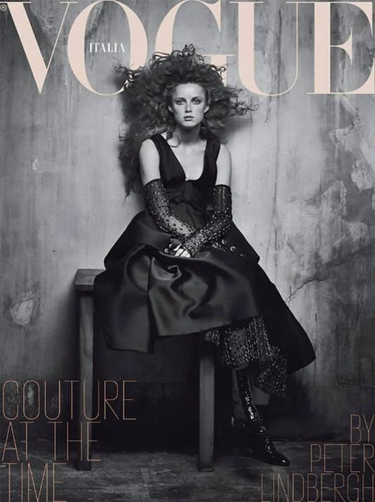 Rianne van Rompaey op de cover van Vogue Italia.