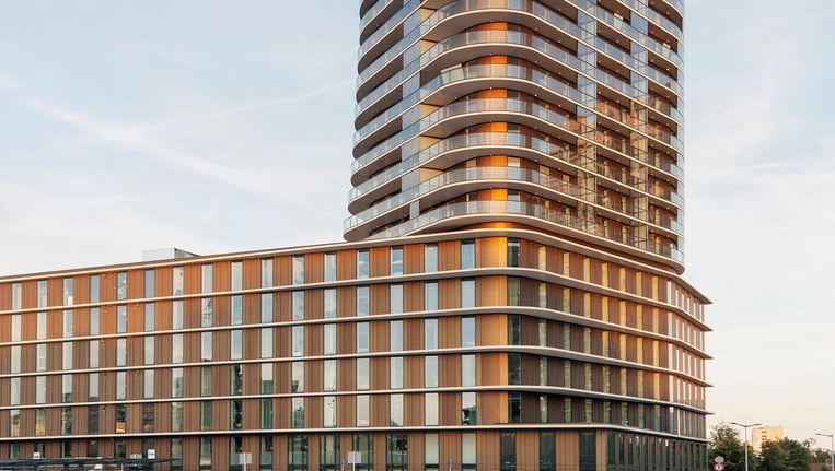 Gezinnen hebben weinig te zoeken in de nieuwe Amsteltoren, vanwege de kleine woningen. Starters des te meer Beeld Maarten Boswijk