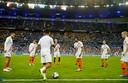 Frankrijk-Nederland Nations League 2018 Kevin Strootman voor aanvang in de rondo met reserves Justin Kluivert, Nathan Ake en Donny van de Beek Foto ; Pim Ras