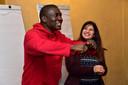 Vluchteling/actrice Nour Aboud met Richards.