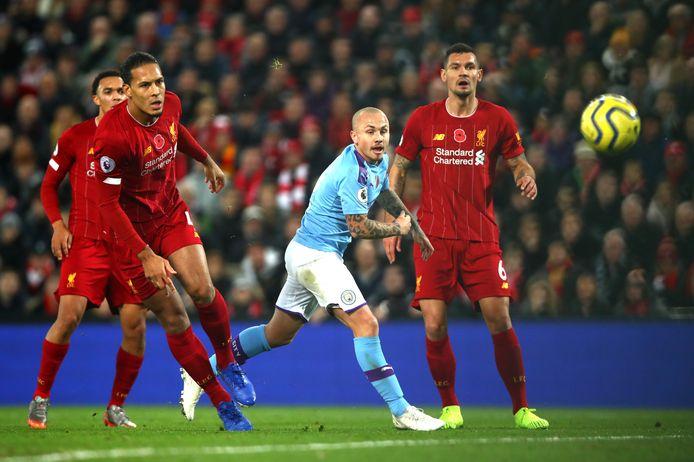 Angeliño, hier in actie tijdens de topper op bezoek bij Liverpool, is bij Manchester City een basisspeler geworden.