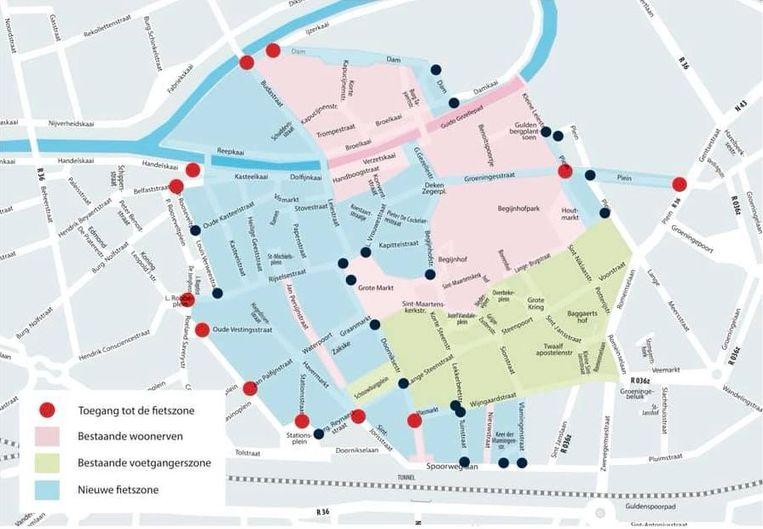 Een kaartje van de fietszone