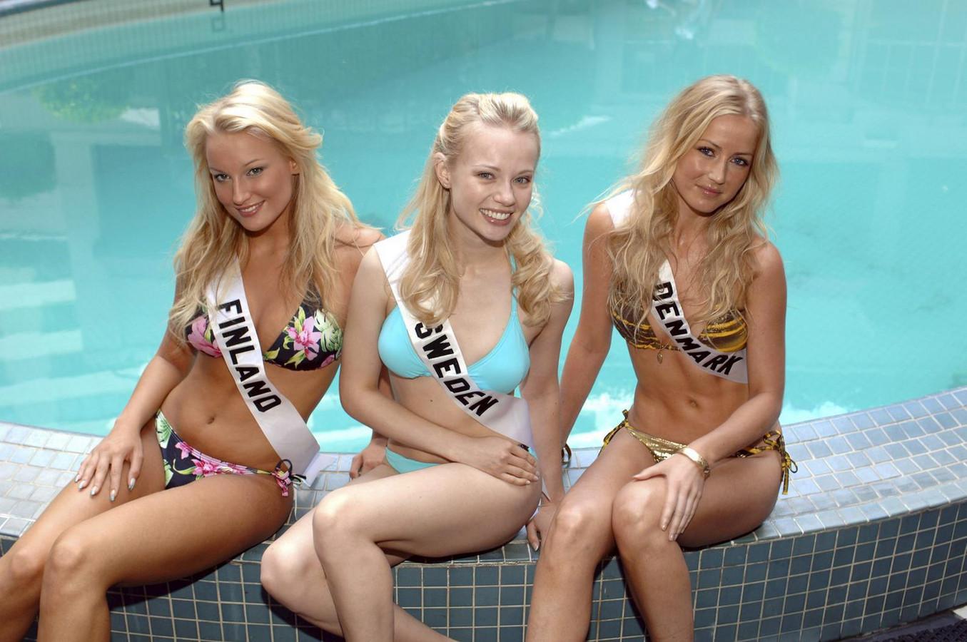 Ninni Laaksonen (l) met de voormalige Miss Zweden en Miss Denemarken ...