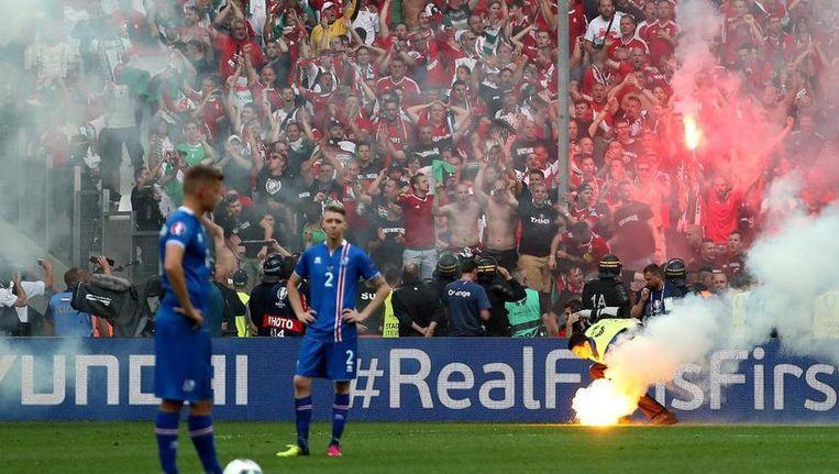 Zaterdag, tijdens de wedstrijd IJsland - Hongarije in Marseille. Beeld anp